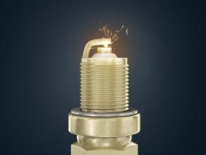 Свеча зажигания с искрой